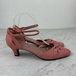 Naturalizer Pink Suede Closed Toe Kitten Heels